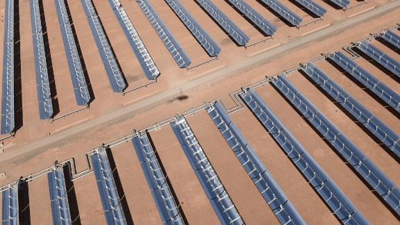 An aerial view of the solar mirrors at the Noor 1 concentrated solar power plant