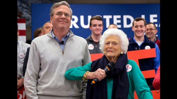 Barbara Bush jokes with her son, Republican presidential candidate Jeb Bush, while introducing him at a town hall meeting at West Running Brook Middle School in Derry, New Hampshire, on Thursday, February 4.