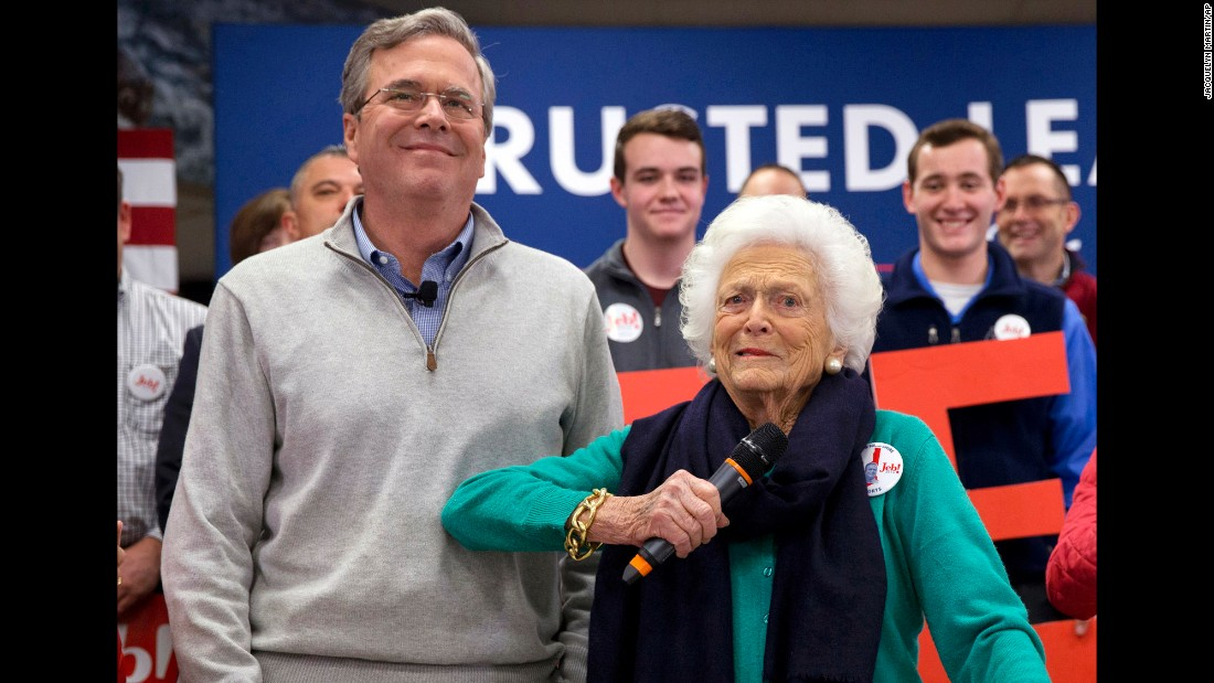 "Barbara Bush jokes with her son, Republican presidential candidate Jeb Bush, while <a href=""http://www.cnn.com/2016/02/04/politics/barbara-bush-jeb-2016-election/"" target=""_blank"">introducing him</a> at a town hall meeting at West Running Brook Middle School in Derry, New Hampshire, on Thursday, February 4."