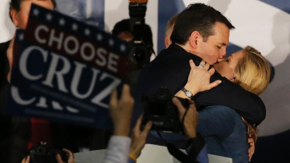 Republican presidential candidate Ted Cruz kisses his wife Heidi at a rally in Des Moines after winning the Iowa caucuses on Monday, February 1.