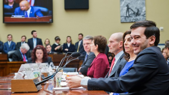Martin Shkreli, former CEO of Turing Pharmaceuticals, right, invoked his Fifth Amendment right against self-incrimination during a House Oversight and Government Reform Committee hearing in Washington on Thursday, February 4. Turing had raised the price of Daraprim, a drug used by AIDS and cancer patients, by 5,000%, from $13.50 to $750 a pill.
