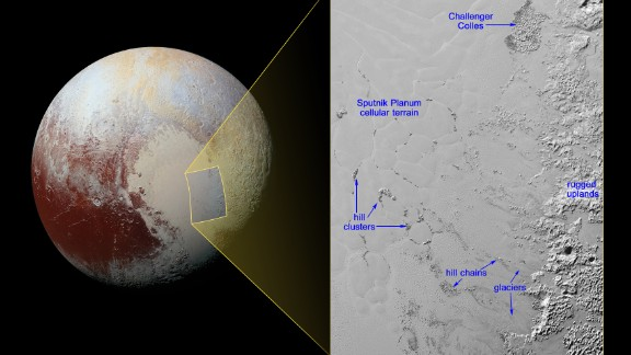 NASA released a photo on February 4, 2015, of what it suspects is an image of floating hills on Pluto's surface. The hills are made of water ice and are suspended above a sea of nitrogen.