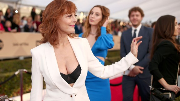 Susan Sarandon's cleavage got a lot of attention at the 22nd annual Screen Actors Guild Awards in January.