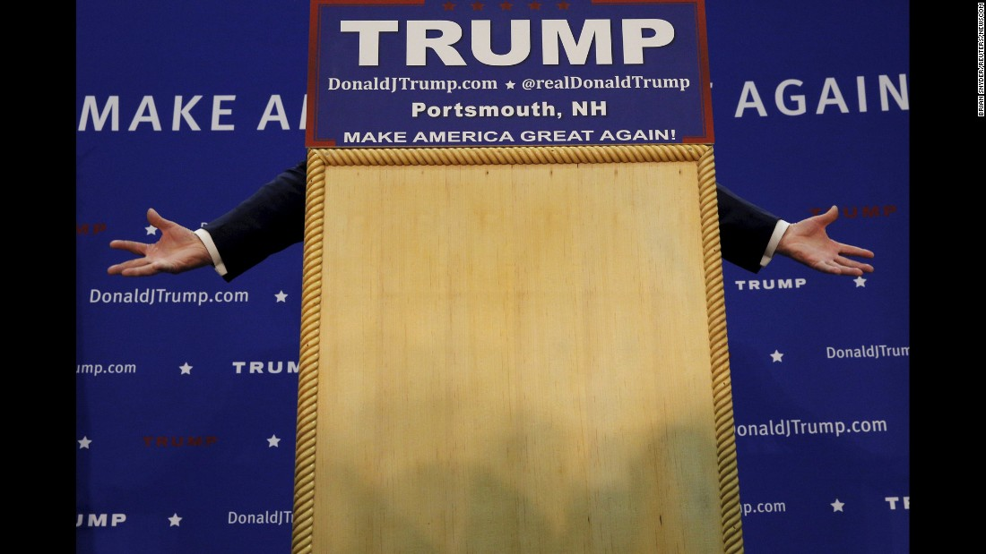 United States Republican presidential candidate Donald Trump speaks during a campaign rally in Portsmouth, New Hampshire on February 4.
