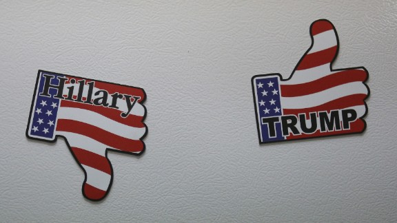 Fridge magnets are pictured in U.S. Republican presidential candidate Donald Trump's campaign headquarters in Manchester, New Hampshire, February 4.