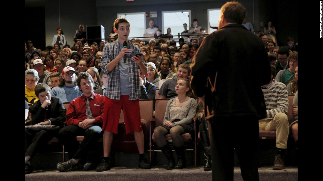 U.S. Republican presidential candidate and Ohio Governor John Kasich listens to a question from a student during a campaign stop at Concord High School in Concord, New Hampshire on February 4.