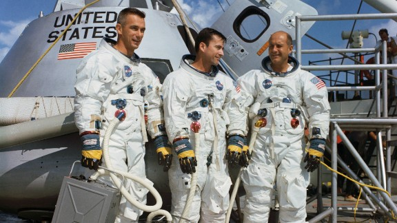 The Apollo 10 mission was just like a lunar landing missing -- without the landing. Crew members from left to right: Gene Cernan, John Young and Thomas Stafford. They launched on May 18, 1969, made 31 orbits of the moon and splashed down in the Pacific on May 26.
