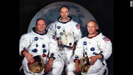 "The Apollo 11 crew, left to right, included Neil Armstrong, Michael Collins and Edwin ""Buzz"" Aldrin."