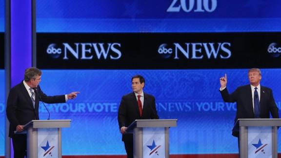 Republican presidential candidates Jeb Bush, Sen. Marco Rubio (R-FL) and Donald Trump participate in the Republican presidential debate at St. Anselm College February 6, 2016 in Manchester, New Hampshire.