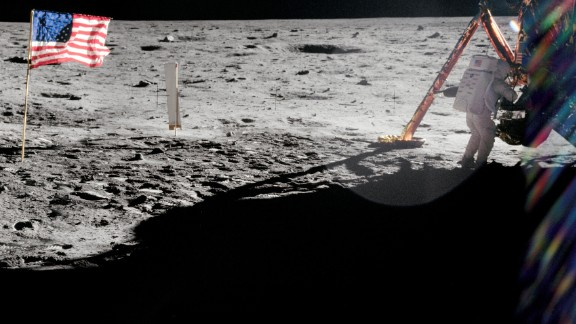 Armstrong took most of the photographs during his historic moonwalk, so you don't see many pictures of him -- this was before the age of the selfie. This rare shot from Aldrin shows Armstrong near the lunar module Eagle.