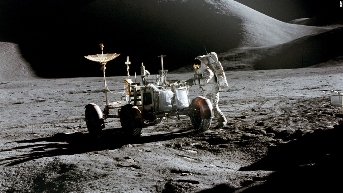 Irwin works near the lunar rover.
