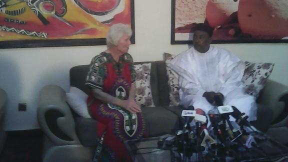 Australian hostage Jocelyn Elliott is shown with Niger's President Mahamadou Issoufou after her release.