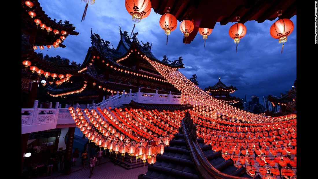 The Thean Hou Temple in Kuala Lumpur is decorated with red lanterns on February 7.