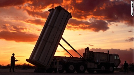 "A file image of the ""THAAD"" anti-missile defense rocket."