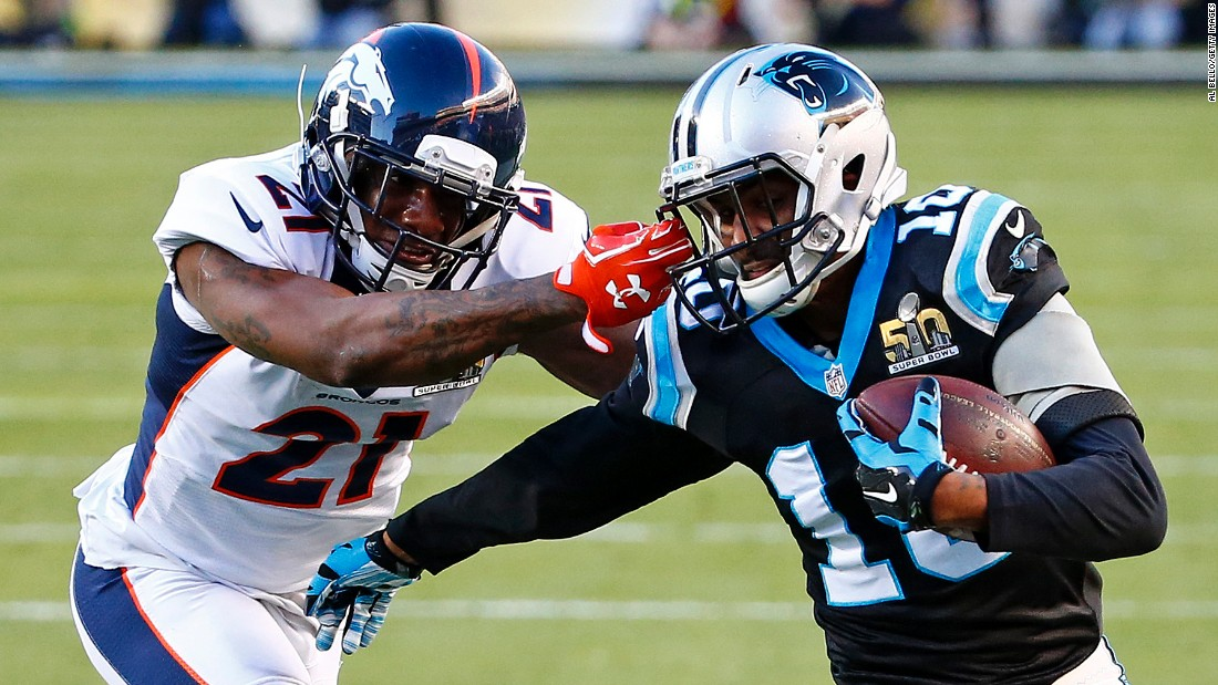 Denver's Aqib Talib grabs Brown's face mask while tackling him in the second quarter. A penalty was called on Talib, and Jonathan Stewart scored one play later.