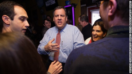 EXETER, NH - FEBRUARY 07: Republican presidential candidate New Jersey Governor Chris Christie greets patrons during a campaign stop at Shooter's Pub on February 6, 2016 in Exeter, NH. (Photo by Matthew Cavanaugh/Getty Images)