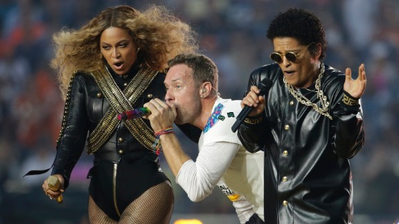 Beyonce, Chris Martin and Bruno Mars perform during the Super Bowl 50 halftime show on Sunday, February 7.