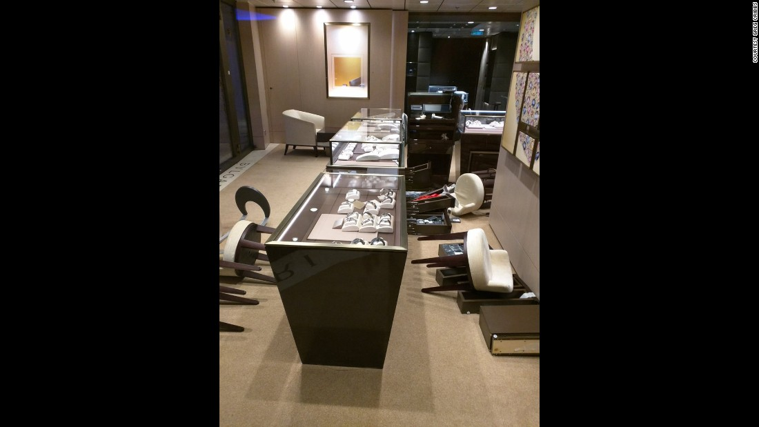 A jewelry store on the ship remains in disarray after the storm.