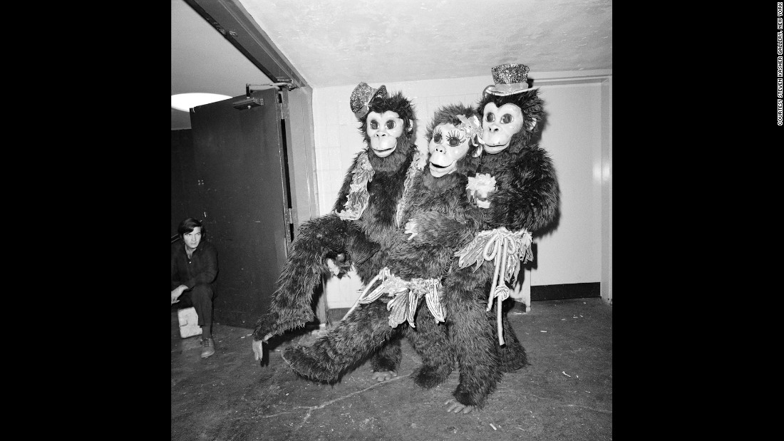 Three clowns wear monkey suits at a circus in New York City in April 1977.