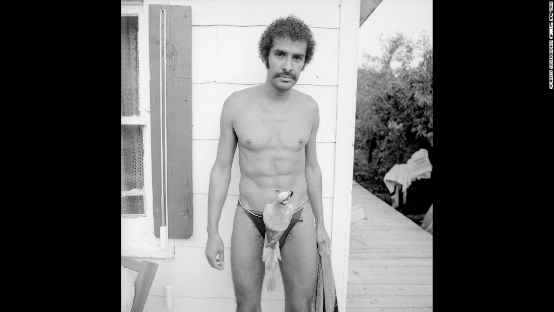 "A man wears ""parrot pants"" in Cherry Grove, New York, in August 1977."