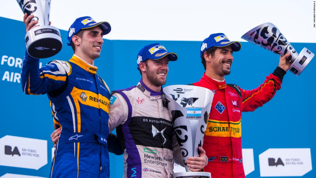 Buemi, Bird and third-placed Lucas di Grassi (far right) pose for the cameras on the podium in Buenos Aires.