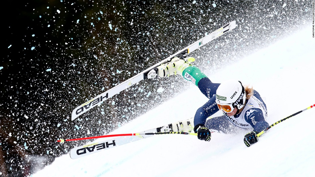 Italian skier Verena Gasslitter crashes during a World Cup race in Garmisch-Partenkirchen, Germany, on Sunday, February 7.