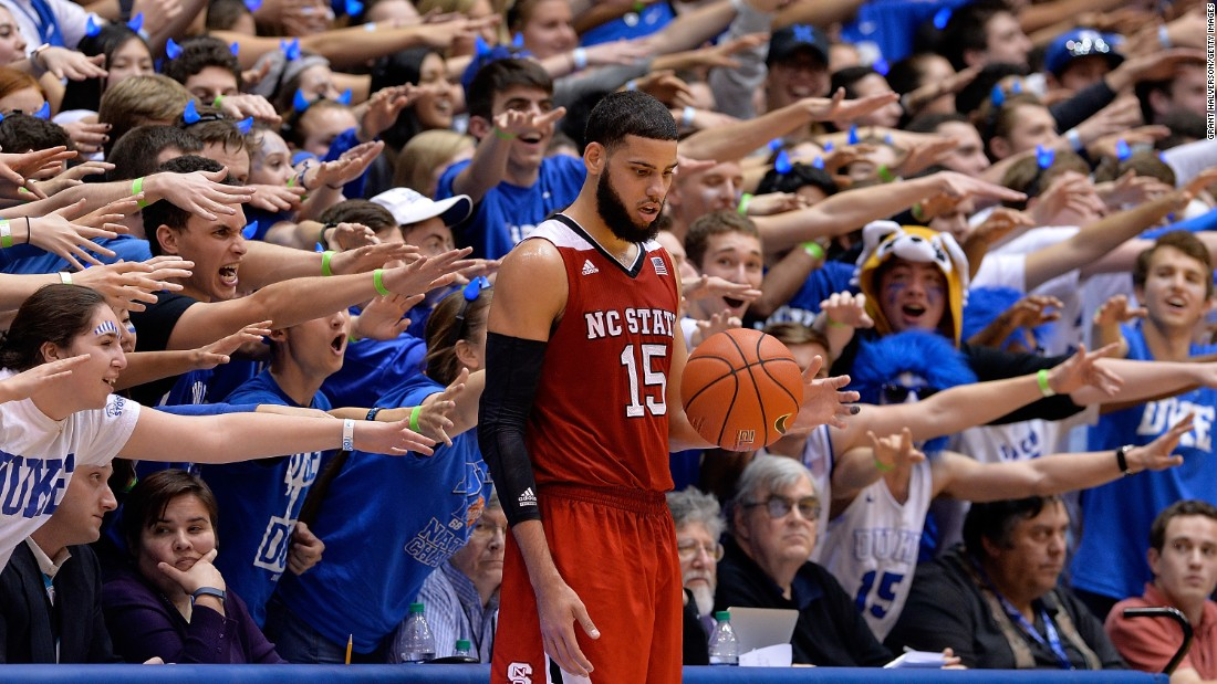 "Duke's ""Cameron Crazies"" taunt North Carolina State's Cody Martin during an ACC basketball game in Durham, North Carolina, on Saturday, February 6."