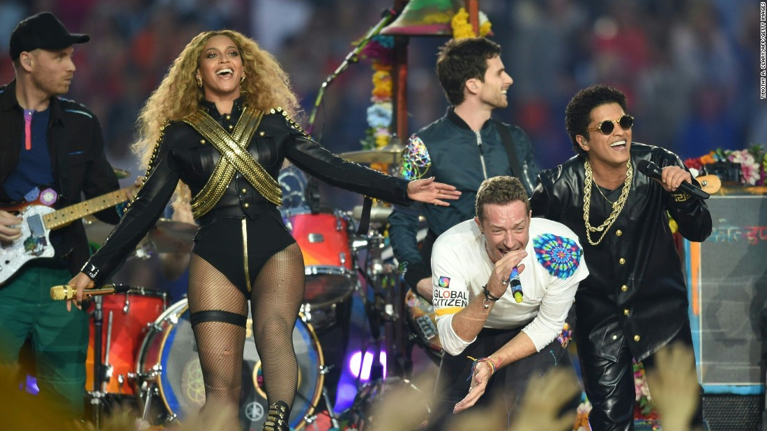 "Beyonce, Chris Martin and Bruno Mars perform during the Super Bowl 50 <a href=""http://www.cnn.com/2016/02/07/entertainment/gallery/super-bowl-halftime-2016/index.html"" target=""_blank"">halftime show</a> on Sunday, February 7."