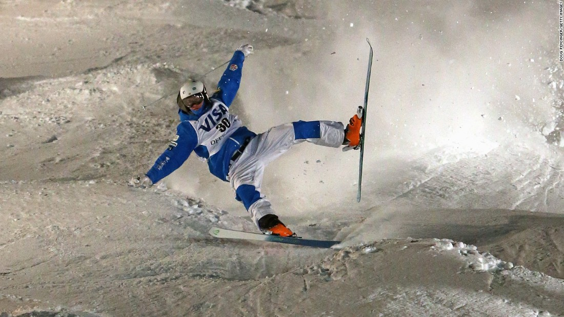 American Thomas Rowley skis off course, failing to finish his moguls run at a World Cup event in Park City, Utah, on Thursday, February 4.