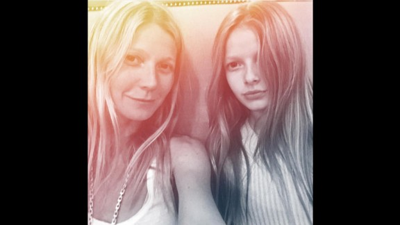 Actress Gwyneth Paltrow takes a selfie with daughter Apple Martin. The actress urges Apple and her brother, Moses Martin, to speak to her and each other only in Spanish.