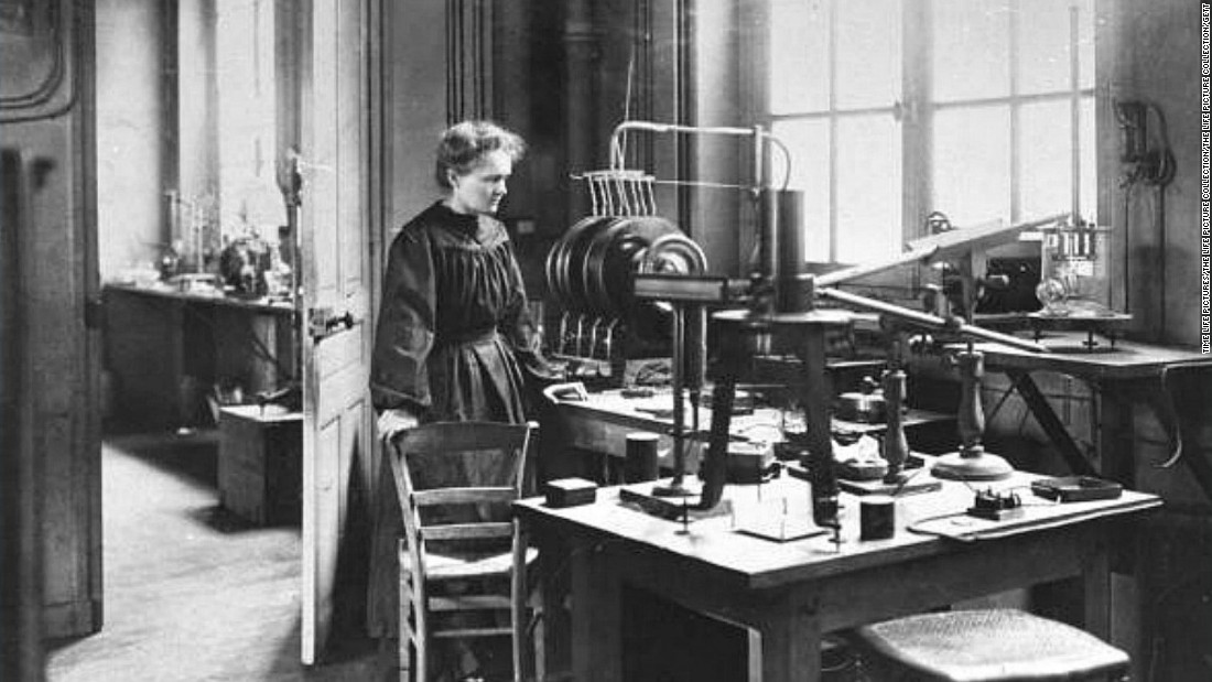 Marie Curie (1867-1934) was a Polish chemist and the first woman to win a Nobel Prize. She is the only woman to win the award twice, and one of only four individuals to win it in two different categories (physics and chemistry).  Along with her husband, Pierre Curie, she discovered polonium and radium which were crucial in the development of X-rays. Curie helped equip ambulances with X-rays during World War I and became head of radiological service for the International Red Cross.