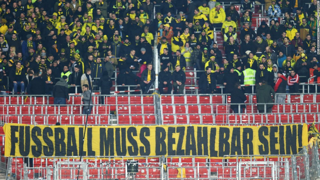 "A banner unfurled at the start of the match read: ""Football must be affordable."""
