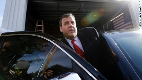 Republican presidential candidate, New Jersey Gov. Chris Christie gets in his car after a campaign event, Saturday, Feb. 6, 2016, in Bedford, N.H. (AP Photo/Elise Amendola)