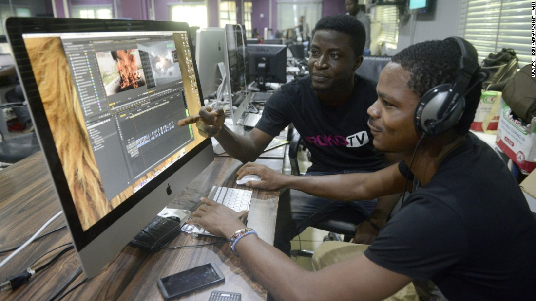 Video editing in Lagos. iROKO employs over 100 staff in the Nigerian capital, London, and New York.