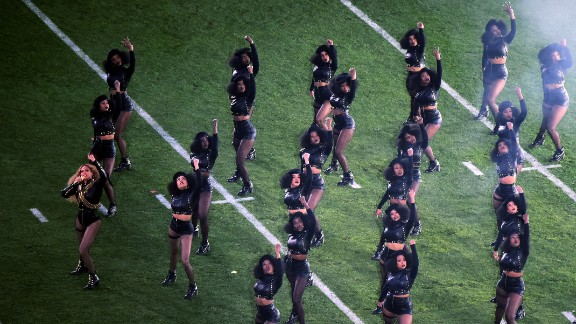It seemed like a blast from the past - black leather jackets, afros and leather jackets - when  Beyonce staged a dance tribute to the Black Panthers during  Super Bowl 50's halftime show.