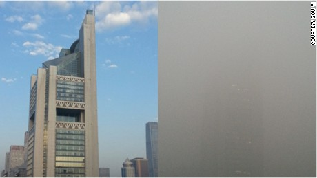 The view from Zou Yi's home in Beijing on September 27, 2015, left, and the same view on December 1, 2015.