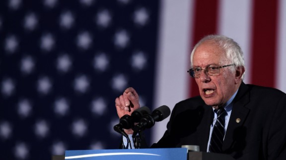 US Democratic presidential candidate Bernie Sanders speaks during the primary night rally in Concord, New Hampshire, on February 9, 2016.