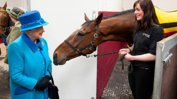 A smiling Queen Elizabeth II, known for her love of horses, grabs the attention of this equine.