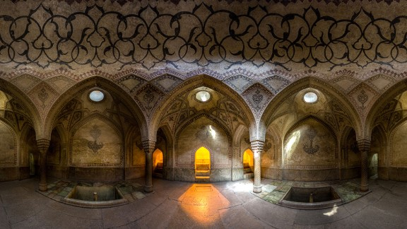 """The 18th-century Karim Khan castle stands in the center of Shiraz. """"The unique architecture, lighting and patterns presented in the Iranian baths catches the eye at first glance,"""" says Ganji."""