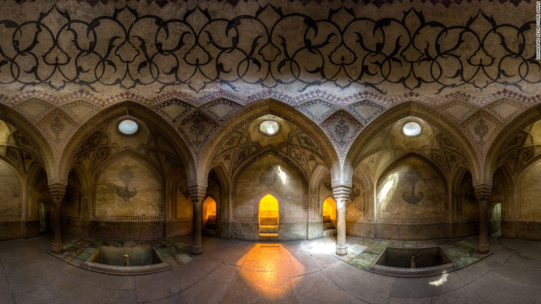 "The 18th-century Karim Khan castle stands in the center of Shiraz. ""The unique architecture, lighting and patterns presented in the Iranian baths catches the eye at first glance,"" says Ganji."