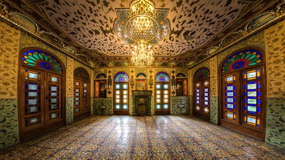 """""""The exclusive ornaments of this building, such as the glasses, the mirrors, and tall columns are of exceptional beauty,"""" says Ganji."""
