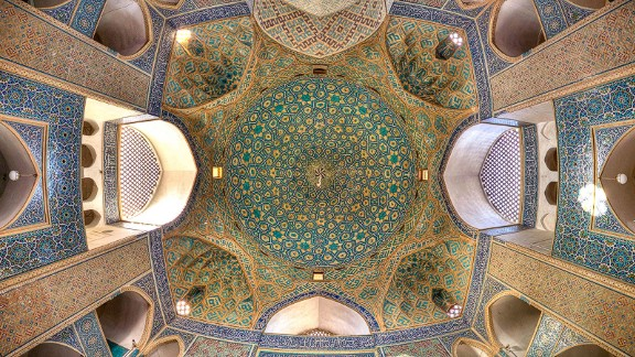 """""""When I entered the mosque I was amazed by the fantastic artwork in its ceiling,"""" says Ganji. """"It got my attention and when I saw that view, I wanted to photograph it."""""""