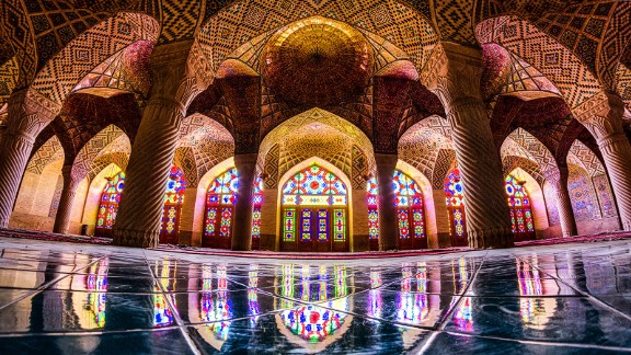 """Another Qajar era treasure, this mosque has eastern and western bedchambers. """"In fall and winter when sunlight shines through the glass, it casts the bedchamber in a beautiful light,"""" says Ganji."""