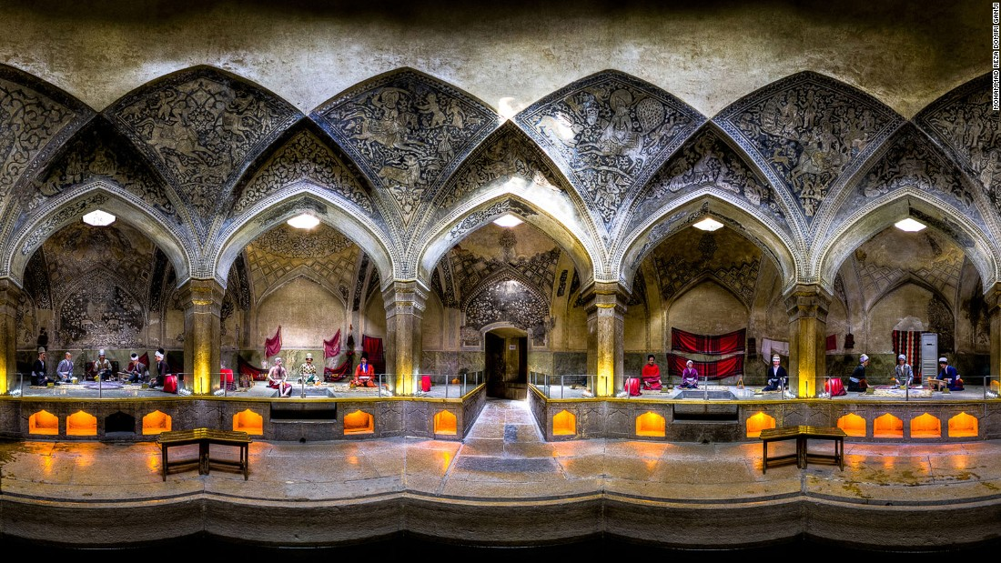 """The amazing symmetry of the architecture and its limestone embellishments make this bath one of a kind,"" says Ganji. ""To capture this stretched panorama, I needed permits to allow me to stand in the middle of the deep bath."""