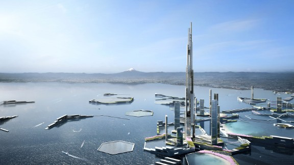 The futuristic city adapts to the impact of climate change.