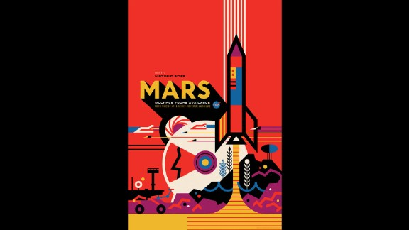 """This poster shows Mars as a habitable world. The posters — the brainchild of The Studio, the design and strategy team at JPL — are a way to celebrate the discovery of planets. JPL Visual Strategist David Delgado said of the designs: """"All of these far off places are hard to get to, but they are there. The immediate thought was, if we could go there someday, what would it be like?"""""""