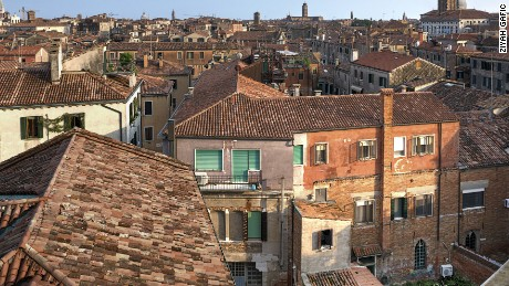 Venice - Italy, July 2014: The view of the ghetto from the outside. The Venice ghetto was the first ghetto ever. The actual word ghetto is coming from Italian word for iron foundation. photo by Ziyah Gafic