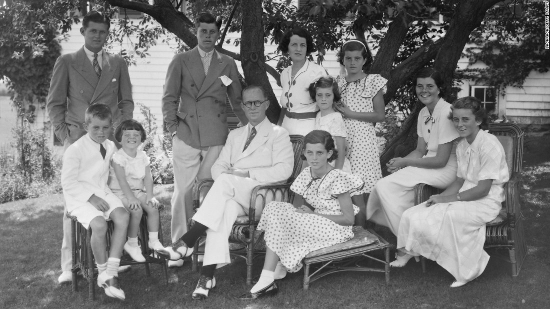 JFK came from a large, prominent Irish Catholic family, seen here at their summer home in Hyannis, Massachusetts, in the 1930s. He had eight brothers and sisters. Seated from left are Robert, Edward, father Joseph Sr., Eunice, Rosemary and Kathleen. Standing from left are Joseph Jr., JFK, mother Rose, Jean and Patricia.
