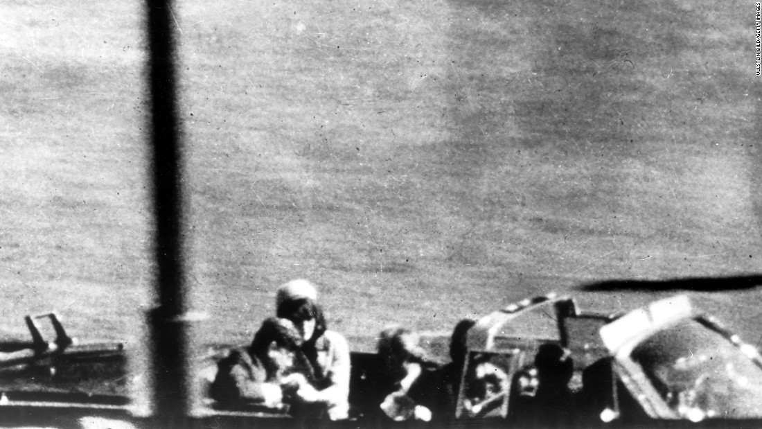 On November 22, 1963, Kennedy was assassinated in Dallas by Lee Harvey Oswald, who was fatally gunned down by Jack Ruby two days later. In this photo, Kennedy flinches as the bullet strikes him in the head.