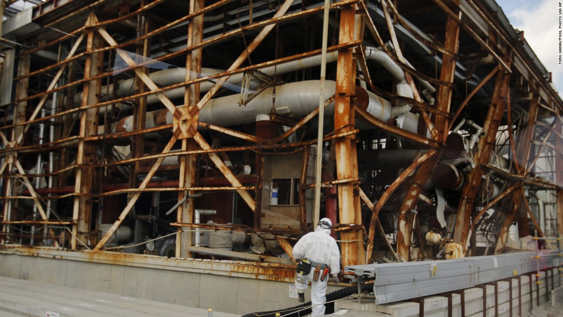 A worker approaches the No. 3 reactor on February 10.